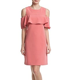 Taylor Dresses Popover Cold Shoulder Shift Dress