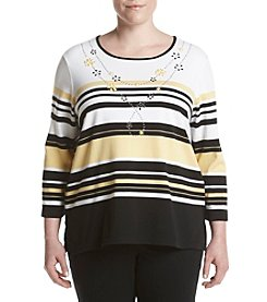 Alfred Dunner® Plus Size City Life Knit Top With Necklace