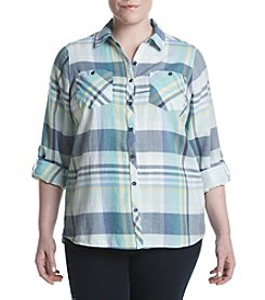 Relativity® Plus Size Plaid Utility Shirt