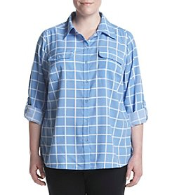 Studio Works® Plus Size Roll Sleeve Blouse