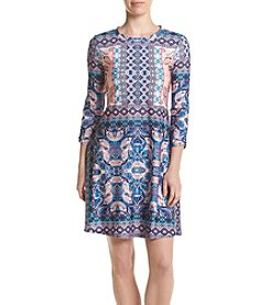 AGB® Scarf Printed Swing Dress