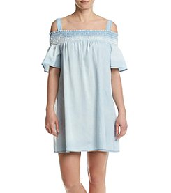 Luxology Cold Shoulder Ombre Denim Dress