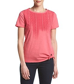 Ruff Hewn Petites' Fade Side Tie Screen Tee