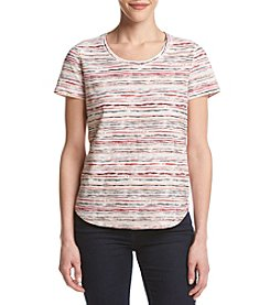 Ruff Hewn Petites' Faded Striped Shirttail Tee