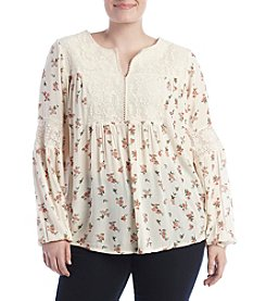 Ruff Hewn Plus Size Lace Yoke Top