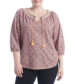 Ruff Hewn Plus Size Paisely Smock Top