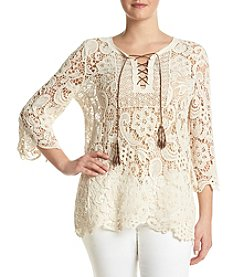 Ruff Hewn Plus Size Lace Tassel Top