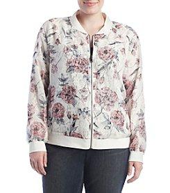 Ruff Hewn GREY Plus Size Chiffon Floral Lace Bomber Jacket