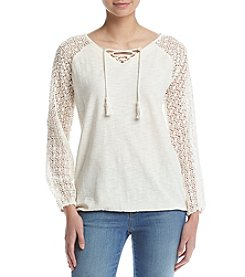 Ruff Hewn Lace Slub Peasant Top