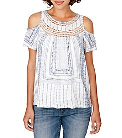 Lucky Brand® Cold-Shoulder Crochet Top