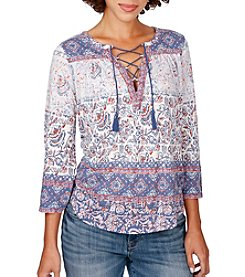 Lucky Brand® Lace-Up Peasant Top