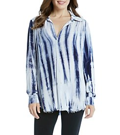 Karen Kane® Half Placket Raw Hem Blouse