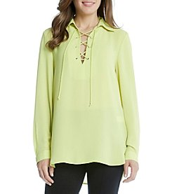 Karen Kane® Lace Up Collar Blouse