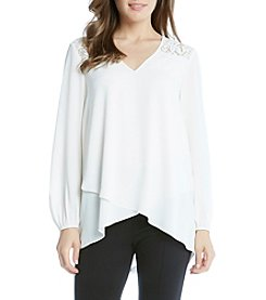 Karen Kane® Lace Yoke Wrap Top