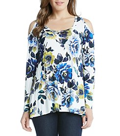 Karen Kane® New Leaf Cold Shoulder Top