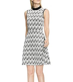Vince Camuto® Herringbone Jacquard Mock Neck Dress