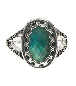 Nine West Vintage America Collection Silvertone Oval Aquamarine Ring