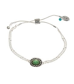 Nine West Vintage America Collection Silvertone Oval Aquamarine Adjustable Slider Braclet