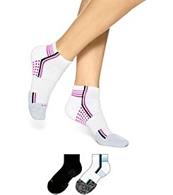 HUE® 3-Pack Air Cushion Quarter Top 3D Sole Socks