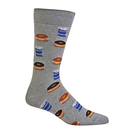 Hot Sox® Men's Bagel And Coffee Crew Socks