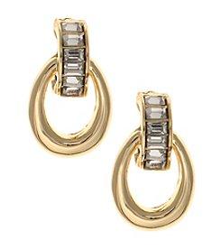 Anne Klein® Simulated Crystal Hoop Drop Clip On Earrings