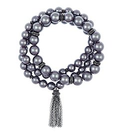 Laundry® Three Row Simulated Pearl Stretch Bracelet