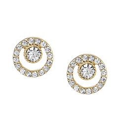 Laundry® Goldtone Pavé Stones Stud Earrings