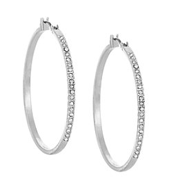 Laundry® Large Silvertone Pavé Hoop Earrings