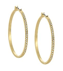Laundry® Large Goldtone Pavé Hoop Earrings