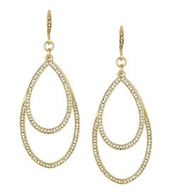 Laundry® Large Goldtone Pavé Double Teardrop Earrings