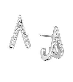 Laundry® Silvertone Pavé Curved V Hoop Earrings