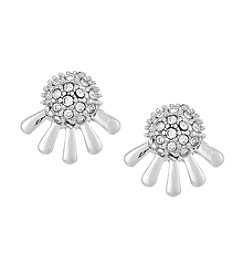 Laundry® Silvertone Pavé Dome Stud Earrings