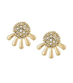 Laundry® Goldtone Pavé Dome Stud Earrings