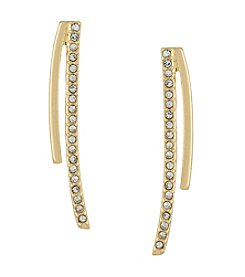 Laundry® Goldtone Pavé Curved Stick Earrings
