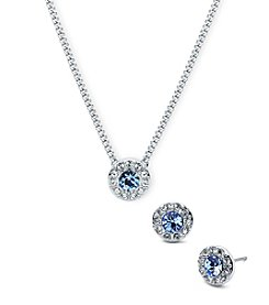 Givenchy® Simulated Sapphire Pave Necklace And Earrings Set