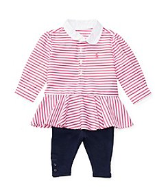 Polo Ralph Lauren® Baby Girls' 2-Piece Striped Tunic Top And Leggings Set