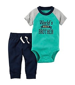 Carter's® Baby Boys 2-Piece Worlds Best Brother Bodysuit And Pant Set