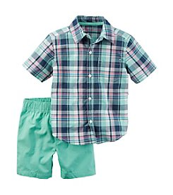 Carter's Boys' 2T-4T 2-Piece Plaid Shirt And Pant Set