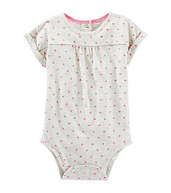 OshKosh B'Gosh® Baby Girls' Heart Printed Short Sleeve Knit Bodysuit