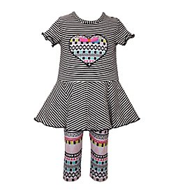 Bonnie Jean® Girls' 2T-6X 2-Piece Striped Top And Capri Set