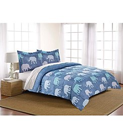 LivingQuarters Reversible Microfiber Down Alternative Elephant Comforter