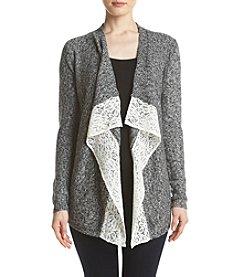 Pink Rose® Lace Trim Sweater Cardigan