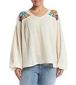 Hippie Laundry Plus Size Embroidered Peasant Top