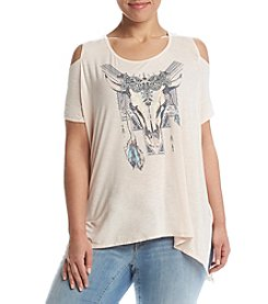 Jessica Simpson Plus Size Cold Shoulder Tee