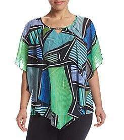 Studio Works® Plus Size Print Poncho Popover Top