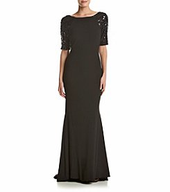 Calvin Klein Sequin Sleeve Long Dress