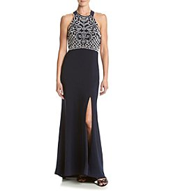 Morgan & Co.® Beaded Criss-Cross Back Gown