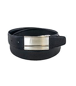 Isaac Mizrahi® Genuine Leather Reversible Plaque Belt