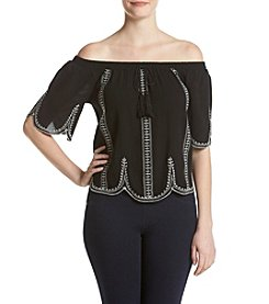 Sequin Hearts® Embroidered Off-Shoulder Top