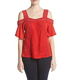 Sequin Hearts® Crochet Trim Cold-Shoulder Top